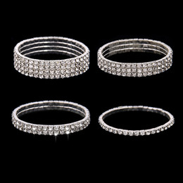 Wholesale Homecoming Jewelry - Free Ship Cheap 3 Row Stretch Bangle Silver Rhinestones Cute Prom Homecoming Wedding Party Evening Jewelry Bracelet Bridal Accessories