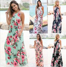 Wholesale Casual Long Dresses Evening - Women Floral Print Sleeveless Boho Dress Evening Gown Party Long Maxi Dress Summer Sundress Casual Dresses 5 Styles OOA3240