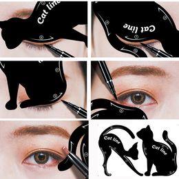Wholesale eyeliner shaper - Hot Sale Beauty Eyebrow Mold For Women Cat Line Makeup Tool Black Cat Eyeliner Shaper Cosmetics Tool Wholesale
