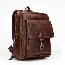 Wholesale horse leather ipad - Mens Vintage Style Crazy Horse Leather Backpack Fashion Students School Bag Genuine Leather Fashion Casual Travel iPad Bags