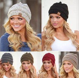 Wholesale Knitted Beanies - Women CC Ponytail Beanie Hat 9 Colors Soft Stretch Cable Knit High Bun Ponytail CC Beanie 30pcs OOA3836
