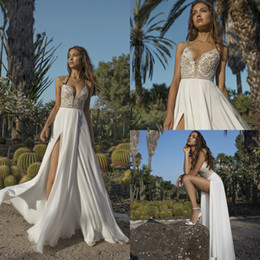 Wholesale Chiffon Dress Sequin Bodice - 2018 Asaf Dadush Boho Wedding Dresses Applique Sequins Beaded Side Split Beach Wedding Gowns Chiffon Backless Plus Size Bridal Dress