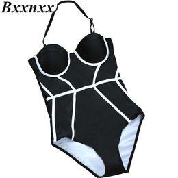 81866bf70b10c Wholesale- Bxxnxx Women Black Swimwear One Oiece Swimsuit Swimdress Bathing  Suit Vintage Swimwear Summer Style discount vintage style swimsuits