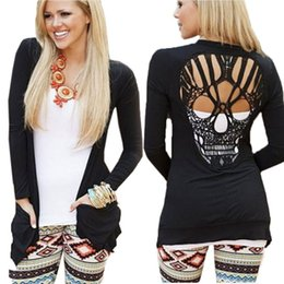 Wholesale Skull Back Top - Women's Clothing Casual Black Jacket Jumper Tops Long Sleeve Back Skull Cut Out Blouse