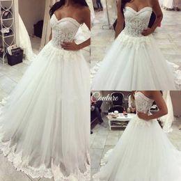 Wholesale Princess Pink Gown - 2018 Elegant White Sexy Sweetheart Strapless A-Line Wedding Dresses Beads Lace Appliques Bridal Gowns Princess Plus Size Vestidos De Noiva