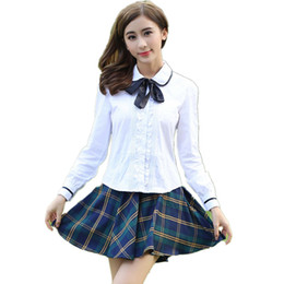 Saias de mulheres japonesas on-line-Uniforme Da Menina da escola Japonesa Coreano Estudante Faculdade Uniforme Saia Das Mulheres de Algodão Camisa de Renda Branca + Plaid Saia Plissada Meninas