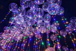 Wholesale light lighters - 2018 Fashion Light Up Toys LED Bobo Balloon Line Strings Led Luminous Helium Balloons Flasher Lighter Christmas Party Home Decoration Toys