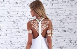 2019 großhandel körper creme flaschen Temporäre Tattoos Weiße Spitze Tattoo Body Arts Hochzeit Sexy Wasserdichte Fake Tattoo 148 * 208 cm