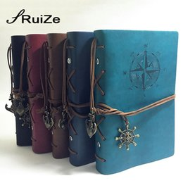 Wholesale Leather Book Blank - RuiZe 2016 hot travel journal notebook vintage leather sketchbook diary blank note book A5 binder 6 ring can be engraved