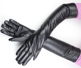 Wholesale Long Arm Gloves Ladies - 2017 Rushed Gloves Long Sheepskin Glove Ladies Genuine Leather Over Elbow Length Velvet Liner Inner Lining Arm Free Shipping