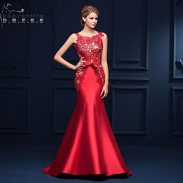 Wholesale lace formal elegant evening gowns - 2018 New Elegant Red Lace Mermaid Evening Dresses Cheap Formal Lace Up Back Prom Party Gowns CPS385