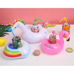 Wholesale cup holders boats - Unicorn Inflatable Cup Holder Drink Floating Party Beverage Boats Phone Stand Holder Pool Toys Party Supplies Hot Sale