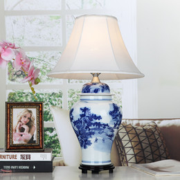 Wholesale Chinese Style Table Lamps - Vintage style porcelain ceramic desk table lamps for bedside chinese Blue and White Porcelain chinese ceramic table lamp