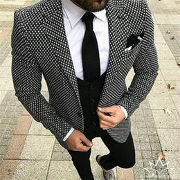 casaco de homem elegante Desconto Custom Made Xadrez Men Suit Terno Masculino 3 Peças (Jacket + Calça + Colete + Gravata) Tuxdeo Causal Estilo Mais Recente Design Blazer Para Homens