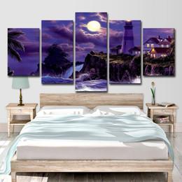 2019 dipinti di villaggio Stampe su tela Quadri Arte della parete Immagini Living Room Decor 5 pezzi Coastal Village House Faro Moonlit Night Poster dipinti di villaggio economici