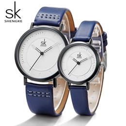 2c4429931ae4 Shengke Watch Quartz Men s Ladies Wrist Watches Analog Blue Fashion Simple Leather  Strap Valentine Love Birthday Gift Couple