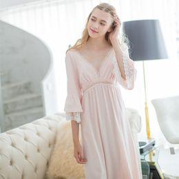 800913ba9a Sexy Nightgown Women s Sleep Cotton Nightwear Pink Deep V-neck Nightdress  Elegant Lady Sleepwear Vintage Bedgown Soft fabrics