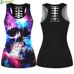 b74c6f6cd1 Space Galaxy Skulls Running Vest Ladies Harajuku Halter Canottiera sportiva  Back Hollow Out Fitness Canotta Yoga Sleeveless Shirt galaxy della maglia  in ...