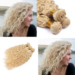 Canada Couleur brésilienne 613 Extensions de trame de cheveux humains vierges Lot de 3 lots Blond # 613 Vague d'eau Vagues de cheveux humains vierges ondulés cheap weft human hair 613 wavy Offre