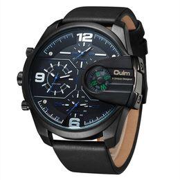 Relógios oulm on-line-Oulm 2018 relógio de quartzo dos homens assista bússola elegante pulseira de couro do exército esporte moderno duplo movimento grandes relógios de pulso