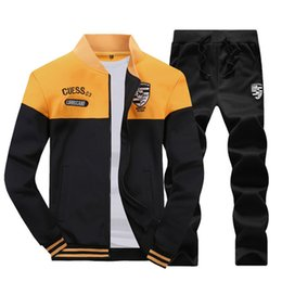 Wholesale Mens Luxury Jackets - 2018 New Fashion Designer Tracksuit Men Luxury Sweat Suits Brand Mens Tracksuits Jogger Suits Jacket + Pants Mens Sportswear M-4XL