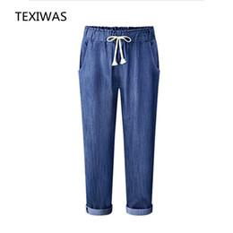 Ganga jeans elástica on-line-TEXIWAS 2017 Primavera Outono novo plus size M-6XL calça jeans moda cintura elástica calças de estilo gordura mm seção solta Tornozelo-Comprimento Calças