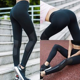 Wholesale high quality pants - High Quality fitness gym leggings Pants High Waist Women Sports Leggings Elastic Yoga pants Hollow Out Design Capris