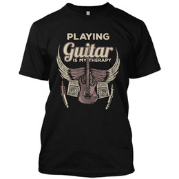 Wholesale guitar graphics - Playing Guitar Is My Therapy Funny Music T Shirt Graphic Tee