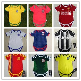 Wholesale Clothing Stops - kids 17 18 Real Madrid Baby soccer Jerseys Cotton Short Sleeves Jumpsuit Baby Triangle Climb Clothes Loveclily 2017 2018 baby's jersey shirt