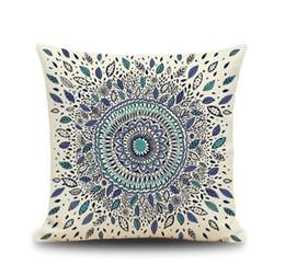 Wholesale Office Linens - Vintage geometric flower pillow cases Fine grain 3D printing flower pillowcase Home office linen cushion cover