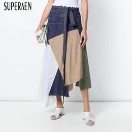 d5b480c6d6 SuperAen Europa Nueva Striped Stitching Mujeres Faldas de verano Algodón  Wild Casual Señoras Faldas de cintura alta Moda 2018 rebajas falda salvaje