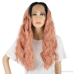 Wholesale long curly rooted wigs - Orange Pink Lace Front Wig Ombre Dark Roots Rose Pink Long Loose Curly Gluless Synthetic Wigs Heat Resistant for Black Women