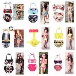 Wholesale Kids Floral Swimsuits - Cute Baby Girls Two Pieces Bikini set Summer Kids Girls Floral Printed Bow Bikini Halter Bandage Swimsuit Bathing Suit beach swimwear