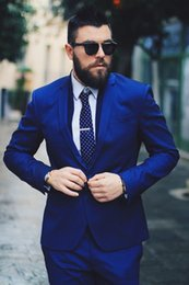 Wholesale Tailor Made Formal Pants - Royal Blue Men Suits Blazer Business Suits Luxury Formal Wedding Suits Bridegroom Tailored Tuxedos Terno Masculino 2 Pieces (Jacket+Pants)