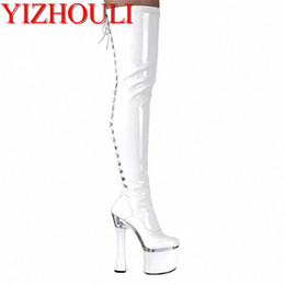 7e0c3891d313 18CM High-Heeled Shoes Sexy Boots Plus Size Wine Glass With Platform Shoes  Sexy Ladies  7 Inch Thigh High Boots