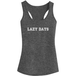 Cime di carrozza divertente online-Womens Lazy Day Funny Fitness Workout Racerback Canottiere casual