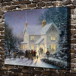 (Thomas Kinkade) Evening Carolers, Home Decor HD Impreso pintura de arte moderno sobre lienzo (Sin enmarcar / Enmarcado) desde fabricantes