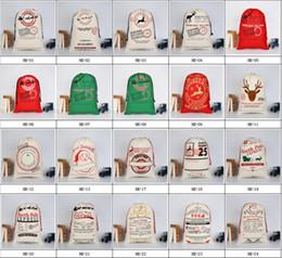 vente en gros de crayons noirs Promotion Sacs de cadeau de décorations de Noël Grand sac en toile organique lourd Sac de cordon de sac de Santa avec des rennes Sacs de sac de père Noël pour des enfants