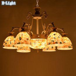 Wholesale Mosaic Glass Lamps - Mediterranean Sea Style Pendant Lamps Northern Europe Greek Living Room Pendant Light Mosaic Tile Ceramic + Glass Lampshade