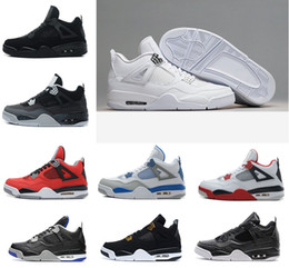 Wholesale Pop Fabric - POP deal shoes 4 4s Basketball Shoes men 4s Pure Money Royalty White Cement Premium Black Bred Fire Red mens Sports Sneakers BIG