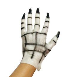 Wholesale Ghost Dresses - Halloween Ghost Gloves Horror Spooky Cosplay Props Demon Ghost Gloves Latex Dress Masquerade Adult Male And Female Hands