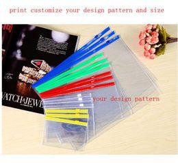Argentina El bolso del lápiz de los bolsos del archivo del plástico A5 A6 A8 de PVC empaqueta con las bolsas del archivo de la transparencia de la cremallera puede personalizar imprime su patrón y tamaño del diseño por mayor. Suministro