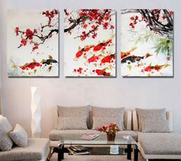 canvas di fiori Sconti 3 Pezzo Plum fiori rossi Cherry Blossom Koi Pesce poster senza cornice Galleria wrap stampa artistica immagine della parete della casa della decorazione della tela di canapa