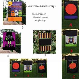 Zucca da giardino online-6 Stili 30 * 45 cm Halloween Garden Flags Zucca Fantasma Party Home Decor Outdoor Appeso Bandiere Del Giardino Decorazioni di Halloween AAA914