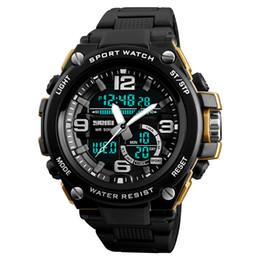 2019 reloj skmei dual SKMEI 1340 Hombres Deportes Reloj Digital Relojes de pulsera de cuarzo de pantalla doble 50M Impermeable Hombre Reloj al aire libre Relogio masculino reloj skmei dual baratos