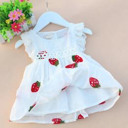 Viejo chaleco de bebé online-Kids Baby Girl Fashion Princess Falda chaleco bordado Verano Vestido de una sola pieza de 6 meses a 3 años de edad