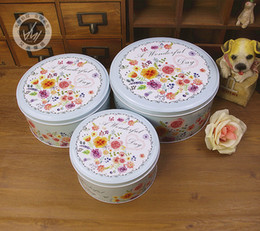Wholesale first class sets - Round biscuit box tin three-piece set of small flowers pattern beautifully fine first-class first-rate splendidly super gift box