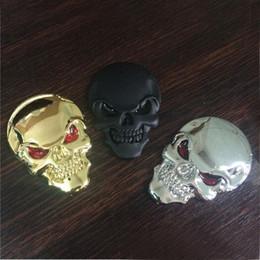 Wholesale devil motorcycle - 1PC NEW Creative Cool Skull Skeleton Car Motorcycle Decal Devil 3D Metal Sticker Emblem Badge New