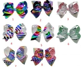 Wholesale Large Boutique Bows - 8 Inch JOJO Large Rainbow printing Hair Bow Hairclip Boutique Handmade Hair Accessories For Kids