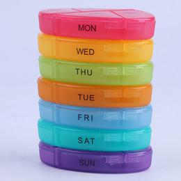 Medicina portátil Semanal Rainbow Storage Pill 7 Dias Tablet Sorter Caixa Recipiente Caso Organizador de Cuidados de Saúde
